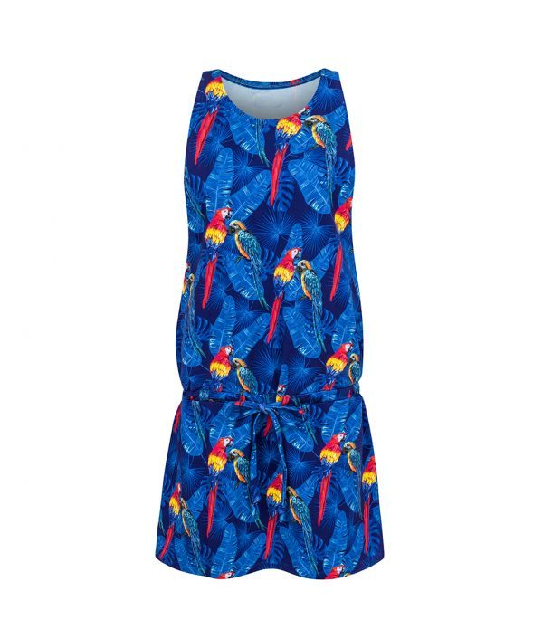 Cotton Dress Parrots Blue Front
