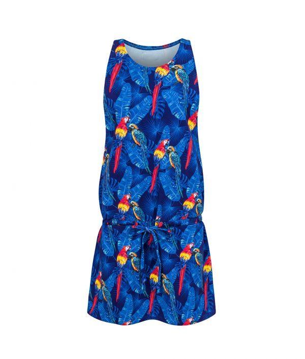 Sukienka na ramiączkach w papugi - przód
