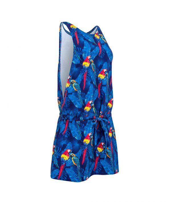 Sukienka na ramiączkach w papugi