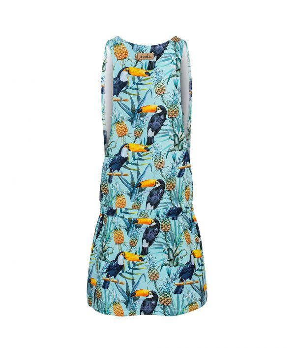 Cotton Dress Tropical Toucan Mint Back