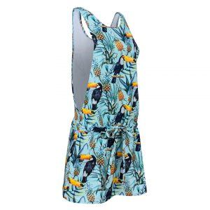 Evokaii Cotton Side Dress Showing Tropical Toucan Print