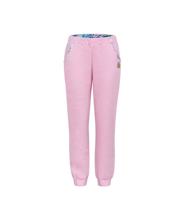 Comfortable Light Pink Sweatpants Front With Pink Feathers Print Inside