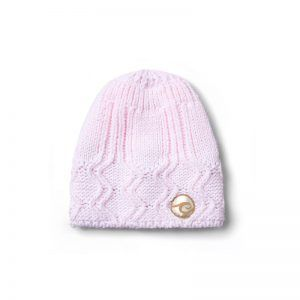 Candy Keeper Pink Knitted Hat with Evokaii surf logo